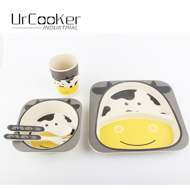 Bamboo fiber dinner set 5 pieces of cute dairy cow children safe and hygienic tableware high  sc 1 st  AliExpress.com & Bamboo fiber dinner set 5 pieces of cute dairy cow children safe and ...