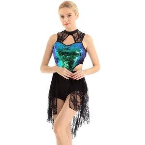 Image 2 - מבריק פאייטים בלט שמלת מחוך ללא שרוולים אסימטרית תחרה גבוהה נמוך בלט ריקוד שמלת לירי מודרני עכשווי תלבושות