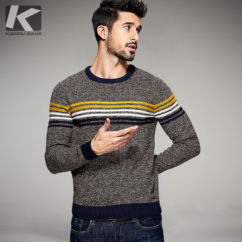 2017 Spring font b Mens b font Fashion font b Sweaters b font Striped Color Knitted