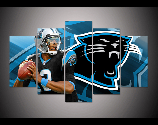 5 panel HD printed canvas painting sport Carolina Panthers canvas ...