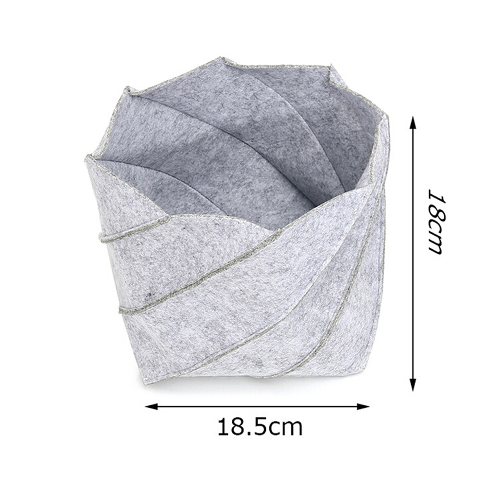 Купить с кэшбэком Creative Felt Fabric Storage Basket Dried Flower Plant Storage Basket Convenient Folding Box Clothing Toys Laundry Organizer