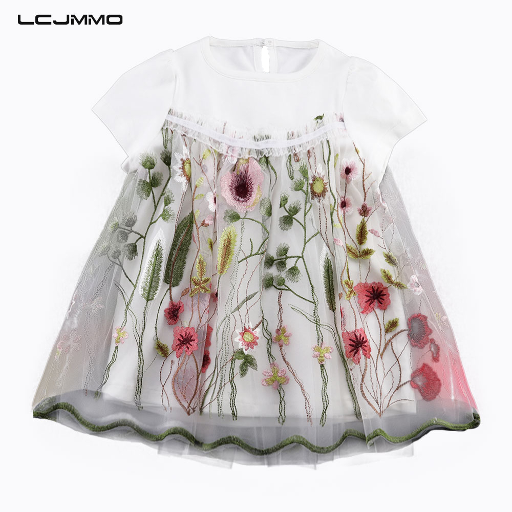 LCJMMO 1-3Y Toddler Baby Girl Dress Newborn Flower Pink White Kids Clothes Summer Lace Princess Party Ball Gown Girls Dresses casual kids baby girls white lace floral long sleeves dress princess party dress ball gown dresses clothes