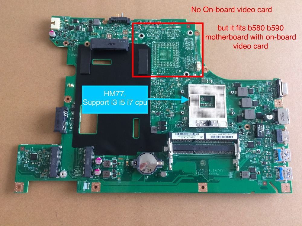 Brand New Laptop Motherboard For Lenovo B590 B580 PC 55.4YA01.001 ( HM77 For I3 I5 I7 cpu ) USB 3.0