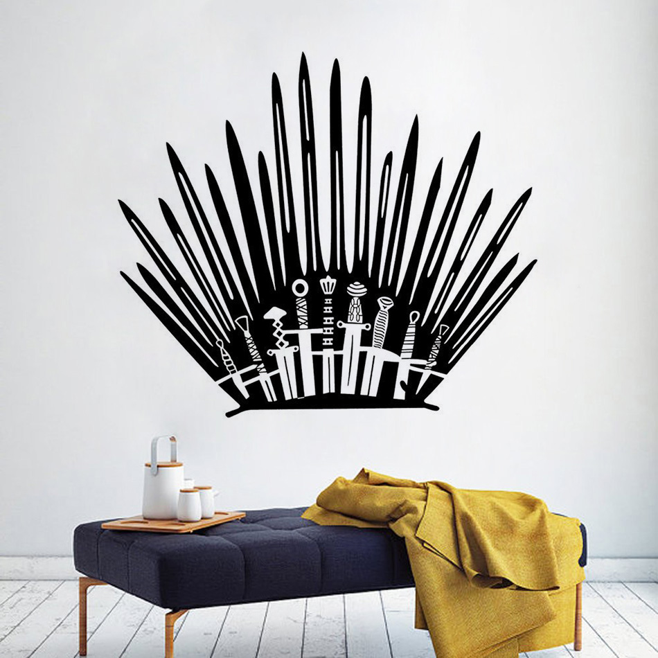 Game of Thrones Vinyl Decals Popular Games Wall Art Sticker Iron Throne Toilet Murals Game Of Thrones Boys Room Decoration AZ646