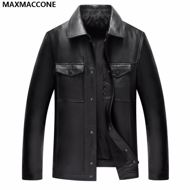 Black classic casual leather jacket