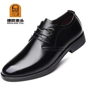 Image 1 - Zapatos de cuero de vaca de calidad para hombre, calzado de vestir suave, talla Extra 45, 46, 47, Punta abierta, 2020