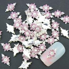 10 Pcs/Lot 3D Pink Jewelry Nail Art Glitter Silver Alloy Manicure Supplies Crystal Rhinestones For Nail Art Decorations TN1337