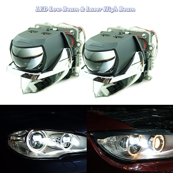 1 Set LED & Laser High Low Beams Projector Headlights For Vehicles