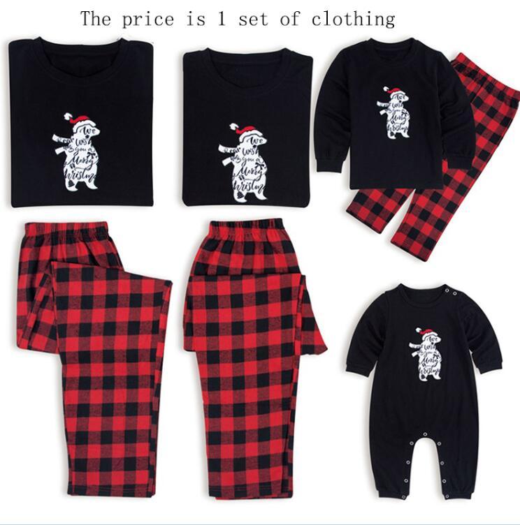 Рождественские пижамы для всей семьи, комплект рождественской одежды костюм для родителей и детей Домашняя одежда для сна новые одинаковые комплекты для семьи, для папы и мамы - Цвет: Black Red