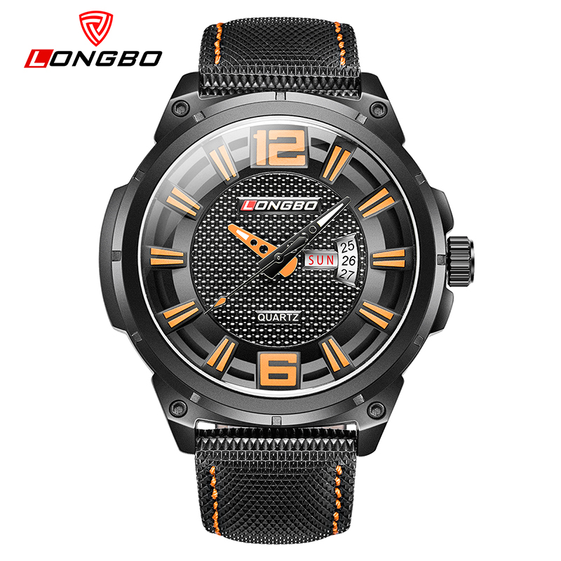 LONGBO Men Sports Watch Date Calendar Leather Wristwatch Luxury Brand Watches Business  Reloj hombre Dropshipping longbo brand new arrived luxury women watch stainless steel auto date business style lady watch date dames horloges reloj mujer
