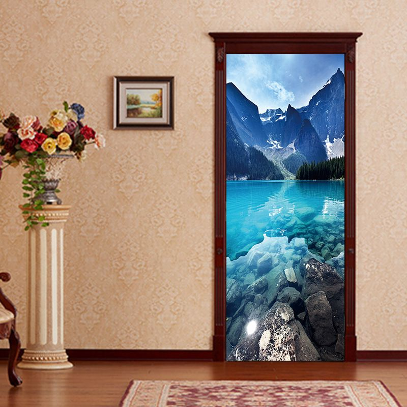 цена 2pcs/set 3D Creative Deep Blue Sea View Door Sticker wallpaper Wall Stickers DIY Mural Bedroom Home Decor Poster PVC Waterproof онлайн в 2017 году