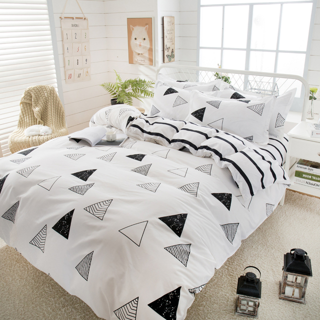 Best Wensd 4pcs White Black Simple Style Bed Sheets Egyptian Cotton Bedding Set Single Quilt Cover Christmas Dekbedovertrek