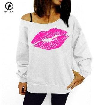 Lip-Print-Off-Shoulder-Long-Sleeved-and-Loose-Pullovers-Hoodies-2