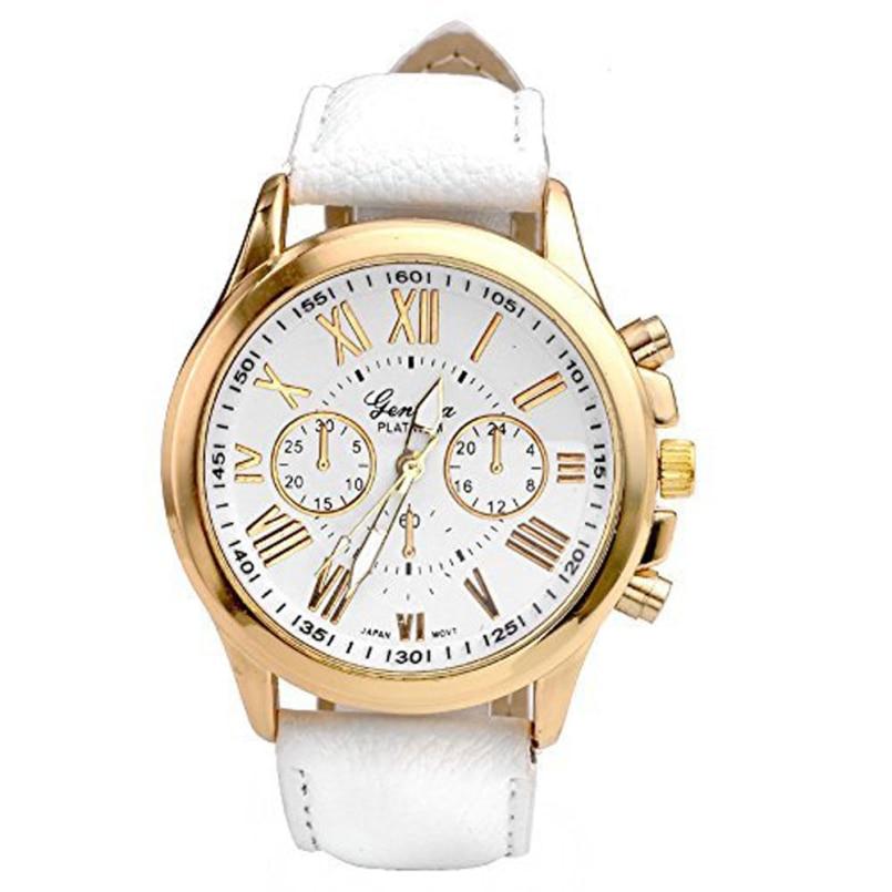 Excellent Quality Fashion Women Dress Watch Bracelet Geneva Roman Numerals Leather Analog Quartz Wristwatch Casual Watch Relogio