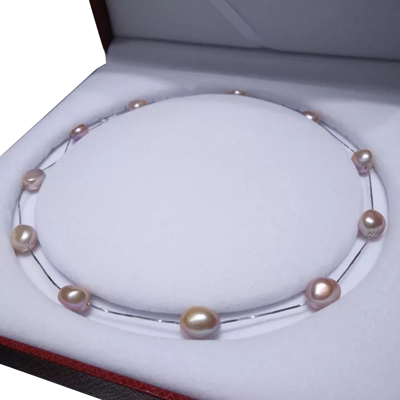 chokers necklace made of 100% NATURE FRESHWATER PEARL-high quality baroque freshwater pearl ,925 SILVER WITH white gold plating