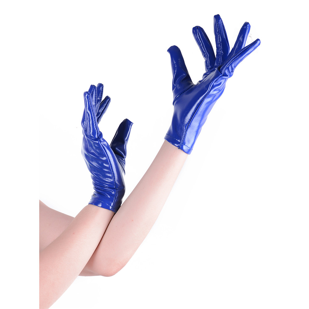 Adult Wet look Short Gloves Shiny Faux Leather Wrist Gloves Punk Jazz Rave Dancewear Sexy Costume Accessories AuraPicco