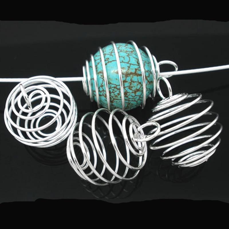 Takı ve Aksesuarları'ten Gerdanlıklar'de 1000 Adet Kolye Gümüş Kaplama Spiral Boncuk Kafesleri Yuvarlak Metal Takı DIY Bulguları Charms 20x25mm'da  Grup 1