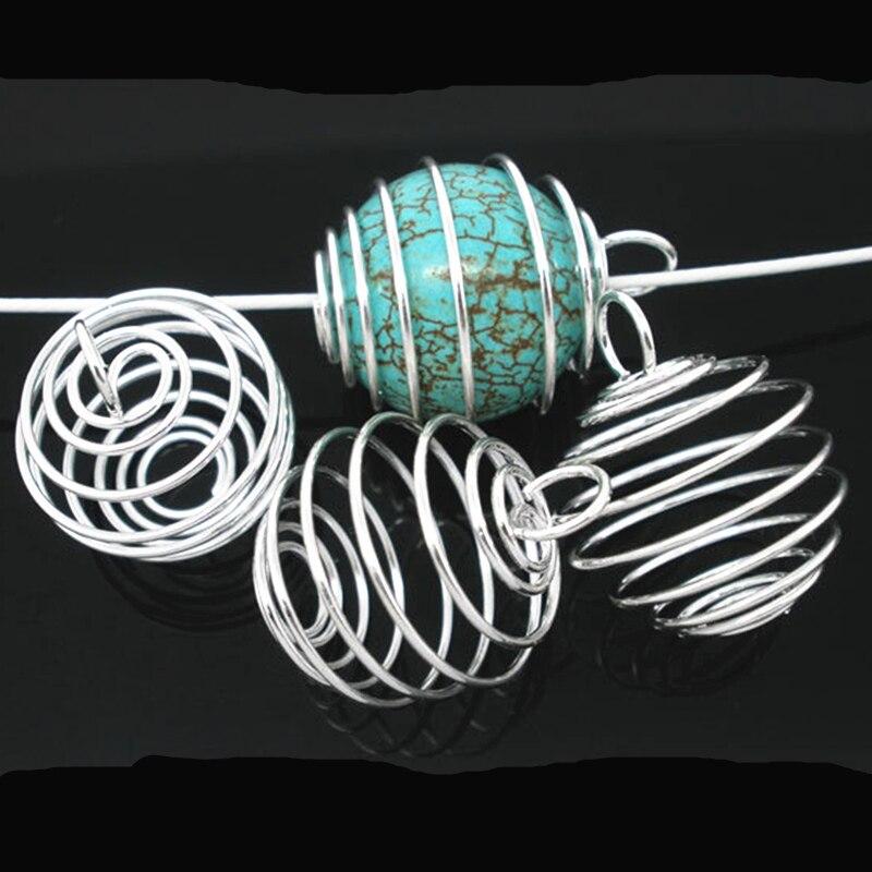 1000 stücke Anhänger Silber Überzogene Spirale Perlen Käfige Runde Metall Schmuck DIY Erkenntnisse Charms 20x25mm-in Anhänger aus Schmuck und Accessoires bei  Gruppe 1