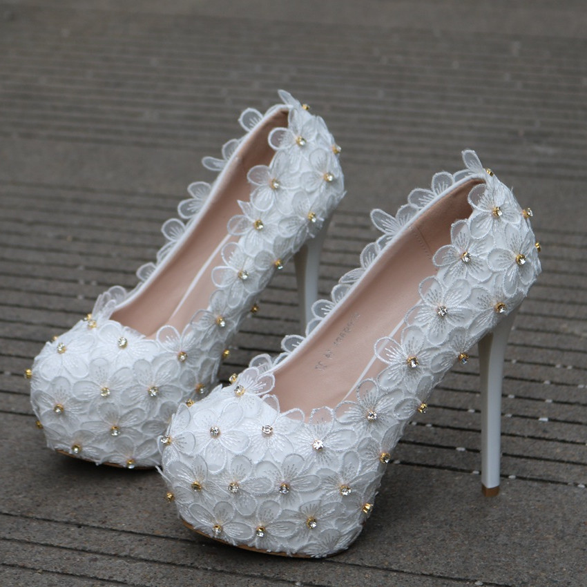 Women Shoes Pumps White Lace Flower Rhinestone Shallow Mouth Thin Heel Wedding Bridal Shoes Party Elegant High Heels XY A0321 in Women 39 s Pumps from Shoes