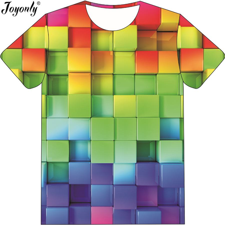 Joyonly Funny 3D Tetris Print Children Tshirts Lattice Colorful Short Sleeves T shirt Casual 2018 Summer Boys Girls Cool Tops black hollow out round neck short sleeves t shirt