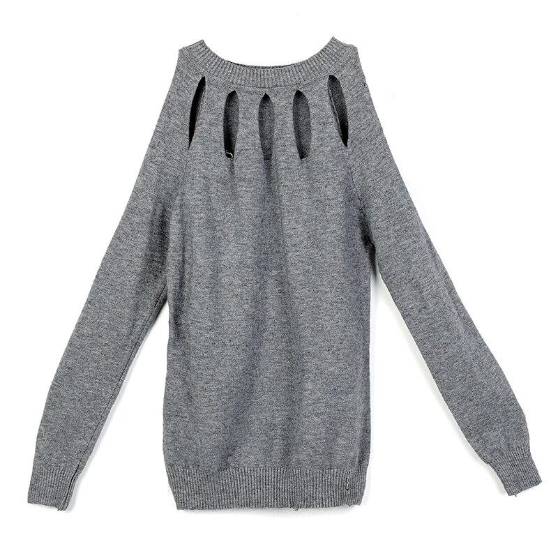 2018 Autumn New Women Knit Sweater Sexy Shoulder off Hollow Long sleeve Feminine Pullover Slim Femme knitting Apparel Tops