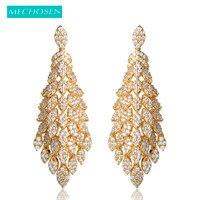 Mechosen أزياء النساء مجوهرات الزفاف زهرة طويل إسقاط أقراط الذهب اللون الأذن ثقب زركون استرخى القرط pendientes