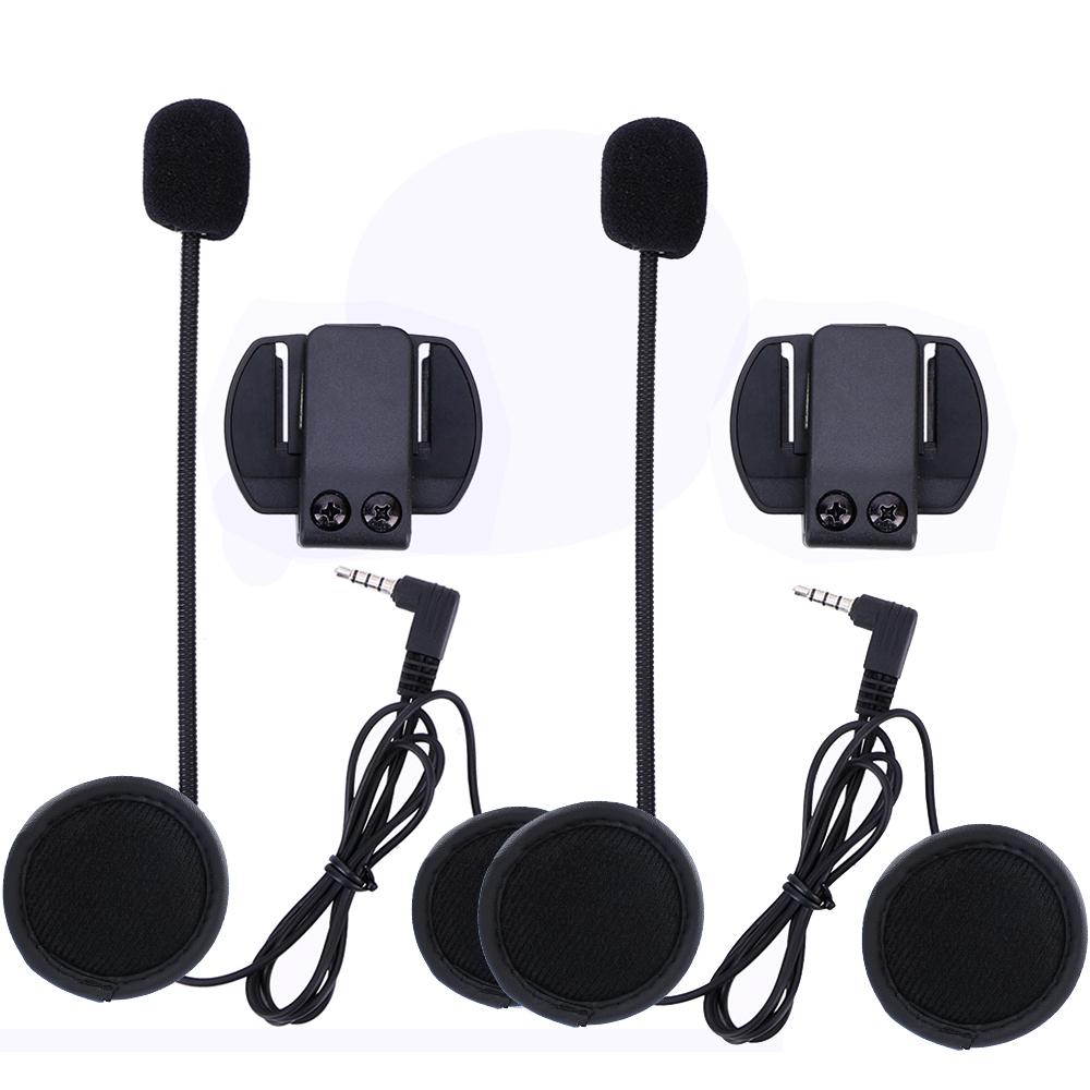 Prix pour 2 set V6 V4 Interphone Accessoires (écouteurs & Clip Support) seulement Costume pour V6 V4 Moto Casque Bluetooth Casque Interphone
