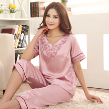 Pajamas For Women Summer Ladies Silk Pyjamas Short sleeve Embroidery Pajamas Women's Sleep Lounge Pajama Sets Plus Size 3XL