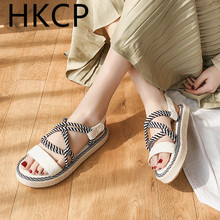 HKCP Sandal woman 2019 Korean version casual all-purpose with thick bottom cross loafer summer new style beach shoes C387