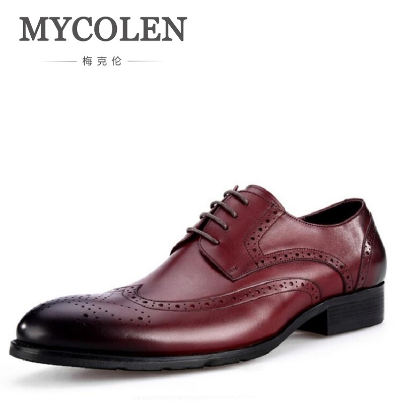 MYCOLEN Custom Handmade Leather Men Shoe Derby Pointed Toe Leather Fashion Carved Mens Flats Shoes Red Wine zapatos de hombre цена