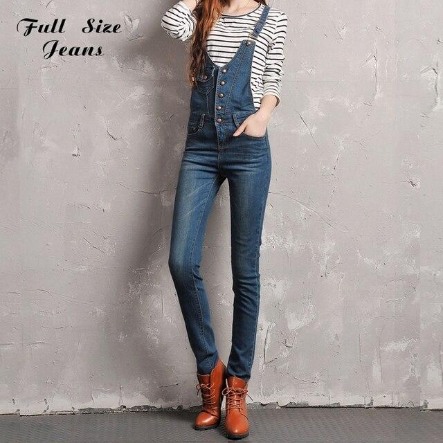 Plus Size Fashion Casual Button Front Denim Overalls Women Bodycon Jumpsuits Vintage Blue Pencil Pants Suspenders Romper 6Xl 40