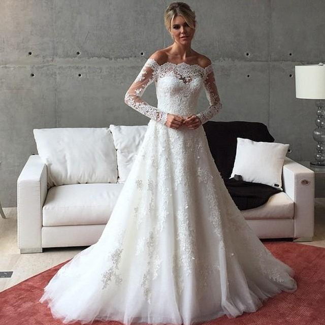 2016 new arrival a line lace wedding dresses strapless shher full 2016 new arrival a line lace wedding dresses strapless shher full long sleeve with appliques vintage junglespirit Image collections