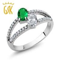 Gem Taş Kral Iki Taş Yüzükler Yeşil Simüle Zümrüt Beyaz Topaz İki Taş 925 Ayar Gümüş Yüzük