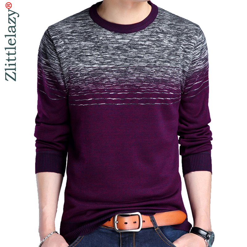 2019 Brand Casual Autumn Winter Warm Pullover Knitted Striped Male Sweater Men Dress Thick Mens Sweaters Jersey Clothing 41192