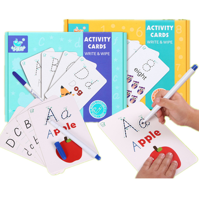 Children Activity Card Write Wipe Learning Educational Toys Alphabet Digit words math Learning Book cards early English Teaching 1