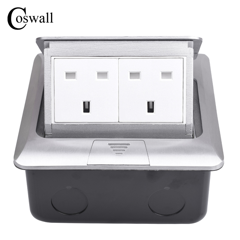 COSWALL All Aluminum Silver Thicken Panel UK British Standard Pop Up Double Floor Socket Electrical Outlet Metal Mounting Box british mk british unit power supply socket metal 13a power outlet british standard unit socket