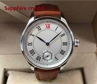 Cristal de safira 44mm GEERVO Asian 6498 17 jewels movimento Do Vento Mão Mecânica dos homens relógio Mecânico Roman relógios gr223-8