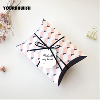 10Pcs Lot 140x190mm Korean Version Gift Box Pillow Retro Wedding Party Favor Paper Candy Box Baby