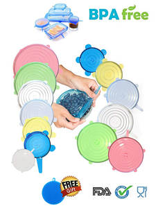 abay 6 Pcs/Set Silicone Lids Food Stretch Cover Kitchen