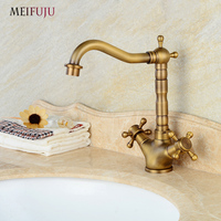 Antique Bronze 360 Degree Swivel Brass Faucet Bathroom Basin Sink Mixer Bath Taps Faucet Dual Cross
