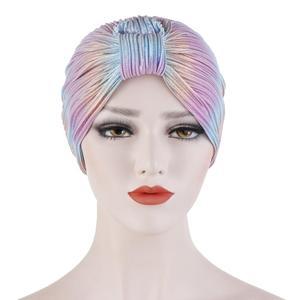 Image 5 - Kadınlar kemo kap şapka pilili islami türban düz renk kasketleri Skullies başörtüsü Wrap hindistan şapka kaput şapkalar İslam arap kap