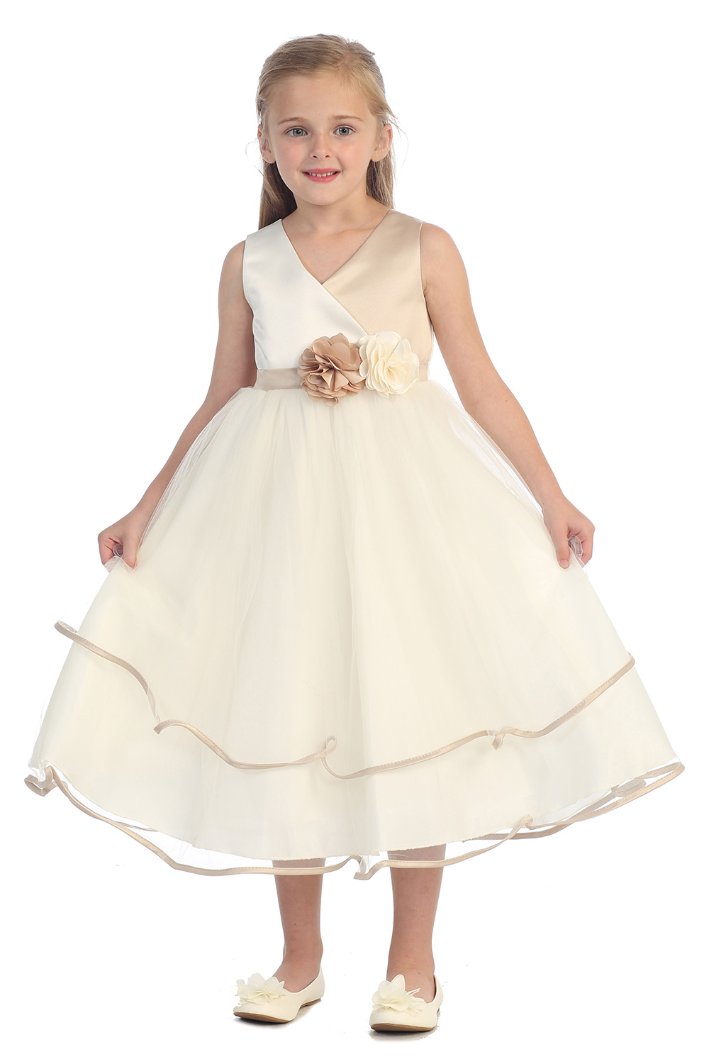 A-Line First Communion Dresses for Girls Mid-Calf Flower Girls Dresses For Wedding Gowns Sleeveless Mother Daughter Dresses купить