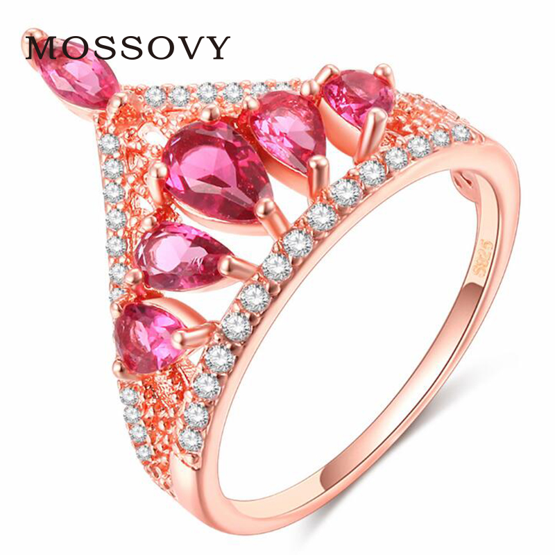 Mossovy Pink Crown Engagement Ring Charms Zircon Wedding Rings for Women Fashion Jewelry Womens Accessories Anillos Mujer