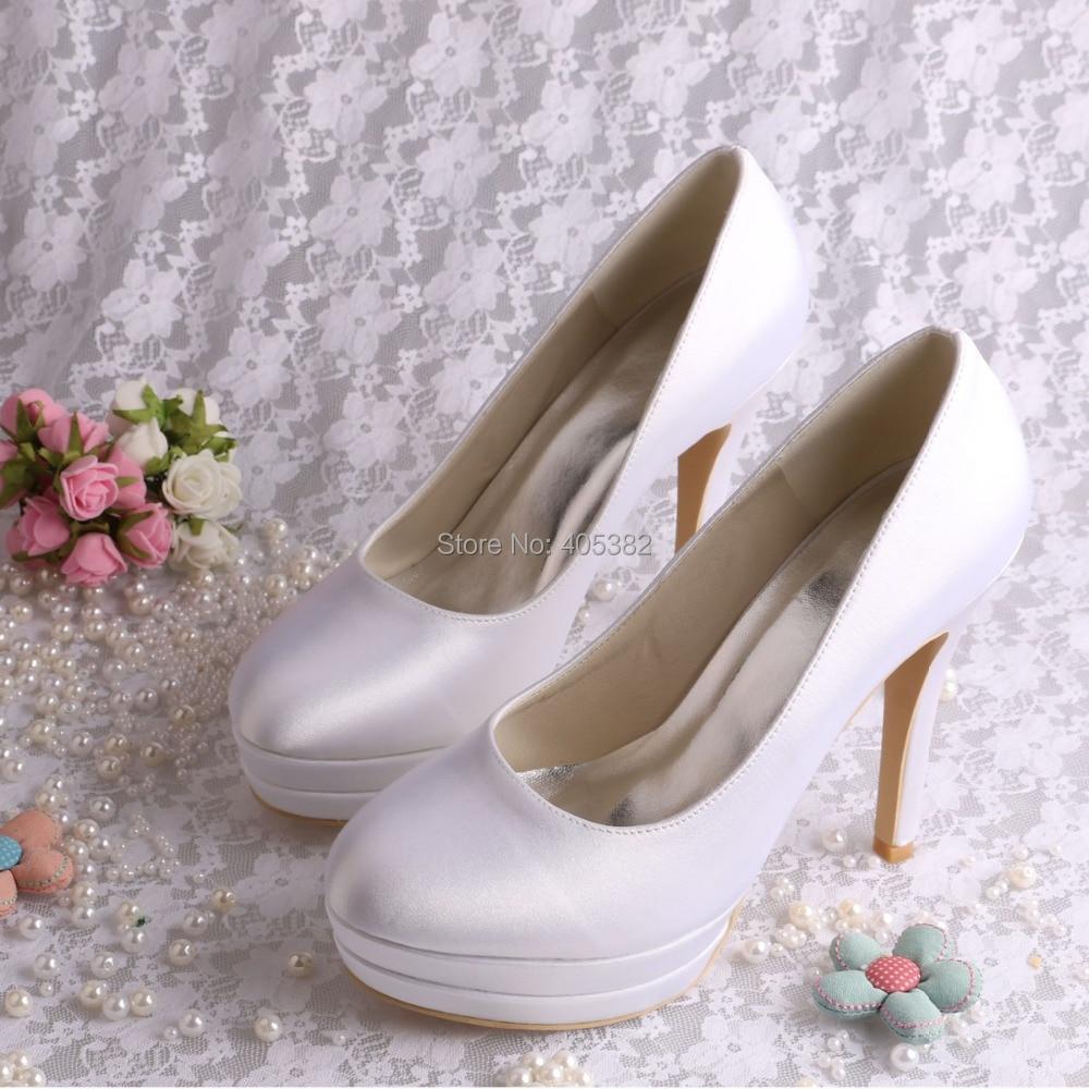 (20 Colors) High Quality Bride Shoes Woman Pumps Platform Wedding White Satin Size 8