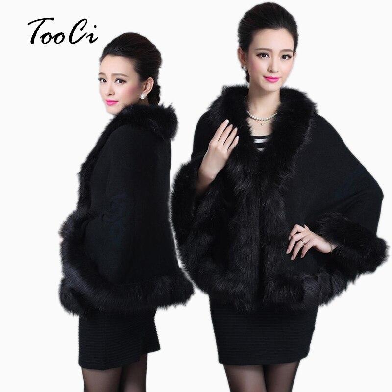 Women Faux Fur Coat Spring Black Sweater Cardigan Female Fox Fur Collar Poncho Cape Bridal Wedding Wool Shawl Cape 12 Colours