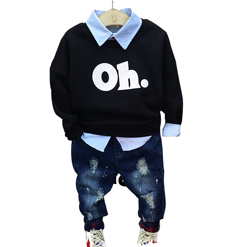 Spring fall letter print pullover sweatshirt + blue shirt + ripped jeans boys 3 pcs set kid clothes children outwear 80-130cm