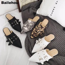 Bailehou Women Slippers Leopard Snake Mule Shoes Flat Ladies Slides Female Pointed Toe Shoes Close Toe Sandals Women New Slipper 2018 luxury velvet slipper women pointed toe gold tassel fringe flat shoes woman mulers gladiator sandals