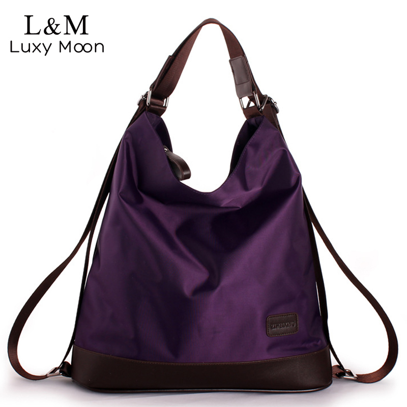 2018 Fashion Women Nylon Handbag Multifunction Waterproof Shoulder Bag Famous Designer Purple Bags Large Shopping Tote XA655H