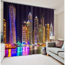 City gorgeous night light Curtains 3D Photo Printing Blackout For Window Living Room Bedding Room Hote