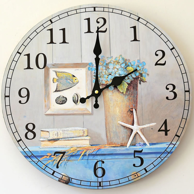Home Study decoration wall clock mute wood wall clock Blue life Silent fish Pictures Styles Round Craft electronic digital clock